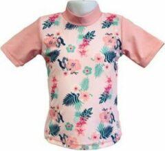 Roze Banz Short Sleeve Pink Floral Uv-werend Maat 92