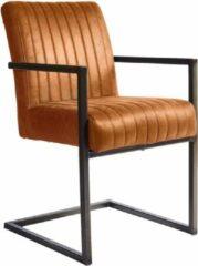4udesigned Stoel Edgar | Cognac Kunstleder | Armstoel | Nosag Vering | Metalen Frame