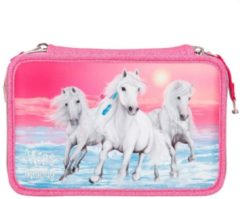 Miss Melody etui glitter 3-vaks 20 cm polyester roze 44-delig