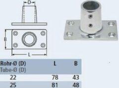 Roestvrijstalen Marinetech Railingvoet 90 gr. rechthoekige voet RVS 22mm