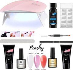 Rode PEACHY  ® PEACHY ® Paris POLYGEL Kit- Mini UV Led Lamp- 3 Kleuren Clear/ Clear Red/Rose Pink 30gr- Gellak- Nageldroger Nagellak set- Kit Polygel Starterspakket Starterpack Start pakket- Manicure set -Gel Nagellakset- Nagel verlenging