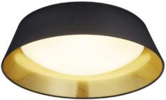 Gouden Reality, Plafonniere, Ponts incl. 1 x LED,SMD,18,0 Watt,3000K,1700 Lm. SMD Kunststof, Wit, Armatuur: Textiel, Zwart Ø:45,0cm, H:12,0cm IP20