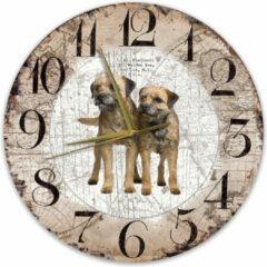 Bruine Creatief Art Houten Klok - 30cm - Hond - Border Terriër