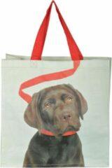 Esschert design Boodschappentas bruine hond aan riem | Esschertdesign
