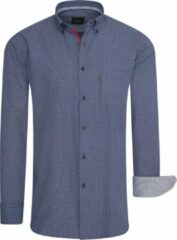 Marineblauwe Cappuccino Italia - Heren Overhemden Regular Fit Overhemd Navy Dotted - Blauw - Maat M