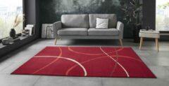 Tapeso Vloerkleed retro Abstract Circles - rood 160x220 cm
