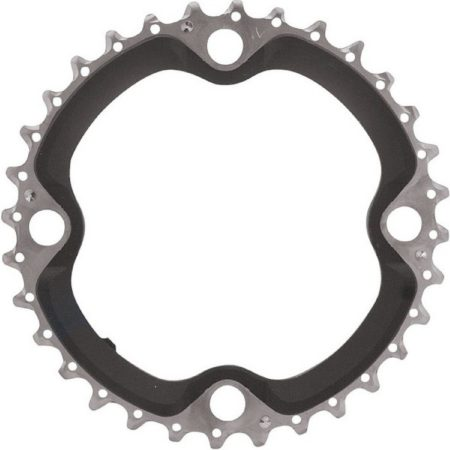 Afbeelding van Zilveren Shimano kettingblad SLX - 32 tanden - 4 arm - Zwart / Zilver - FC-M660