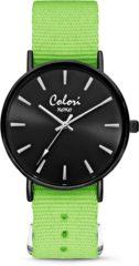 Colori XOXO 5 COL550 Horloge geschenkset met Armband - Nato Band - Ø 36 mm - Groen / Zwart
