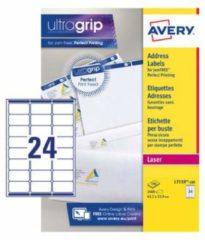 La Couronne Doos 2400 adresetiketten Avery wit L7159-100 63,5 x 33,9 mm voor laserprinters