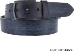 Donkerblauwe Leatherbelove - Vintage lederen broekriem - Blauw - 85 cm