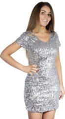 CHIAMAX Pailletten jurkje zilver XL