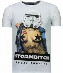 Witte T-shirt Korte Mouw Local Fanatic Stormbitch - Rhinestone T-shirt
