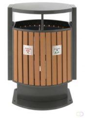 Antraciet-grijze Buitenafvalbak afvalscheiding 2x 39L eko houtlook