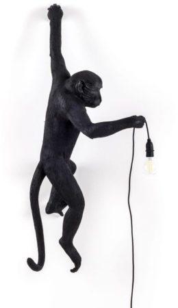 Afbeelding van Zwarte Seletti Monkey Buitenlamp Resin Zwart 37 x 76,5 cm - Hangend