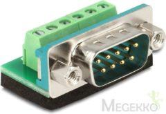 Blauwe DeLOCK 65499 Sub-D 9p 6p Zwart, Blauw, Groen, Zilver kabeladapter/verloopstukje