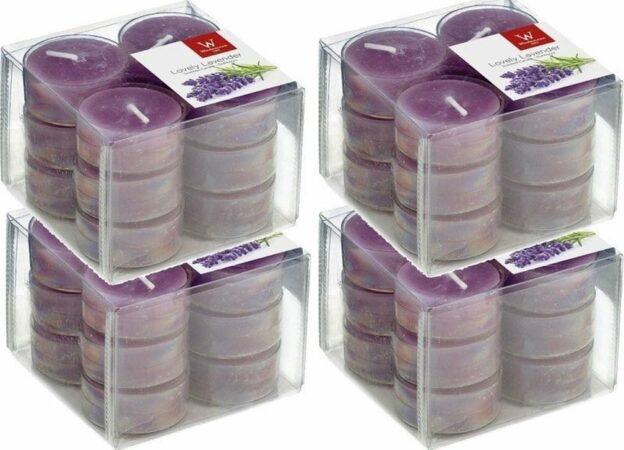 Afbeelding van Trend Candles 48x Geurtheelichtjes lavendel/paars 4 branduren - Geurkaarsen lavendelgeur - Waxinelichtjes