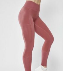 Especially Sportlegging High waist Dames - Maat XL - Mobiel Opbergzakken - Fitness - Gym - Yoga - Hardloop - Vechtsport - Sport Legging Donker Roze 2