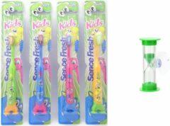 Blauwe 4 x Sencefresh Tandenborstel - Soft Kids - met zandloper