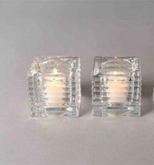 Rasteli Waxinelichthouder-Theelichtje Glas-Geribbelde glazen waxinelichthouder in blokvorm D 5.8 cm H 5.6 cm Voordeelaanbod per 2 stuks