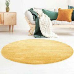 Grijze Tapeso Rond vloerkleed effen velours Gala - geel 250 cm rond