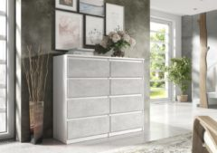 Pro-meubels - Ladekast - Commode - Ibis 8 lades - 120cm - Wit - Betonlook