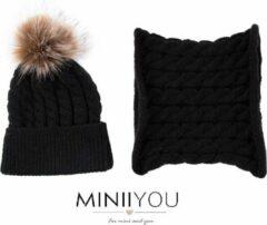 MINIIYOU - Set muts en colsjaal - Baby 4-7 mnd (maat 68) - Zwart