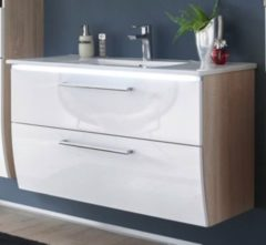 Waschbeckenunterschrank Sonoma/ weiss mit Becken Bega Miami