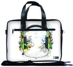 Witte False Laptoptas 15,6 / schoudertas artistieke hoofdtelefoon - Sleevy - reistas - schoudertas - schooltas - heren dames tas - tas laptop
