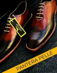 Pantera Pelle Leather Shoes Volledig Lederen Herenschoen, bruin cognac met zwart , maat 41