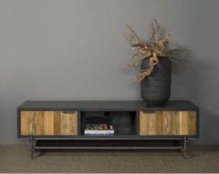 Antraciet-grijze Tower Living TV-meubel Pesaro 180 cm | Oud teak