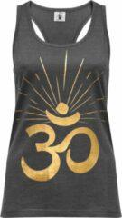 "Grijze Yoga-Racerback-Top ""OM sunray"" - darkgrey gold XL Loungewear shirt YOGISTAR"