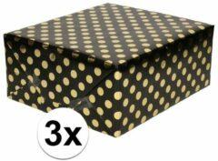 3x Zwart folie inpakpapier/cadeaupapier gouden stip 200 x 70 cm - Inpakpapier/cadeaupapier/geschenkpapier - Cadeautjes inpakken