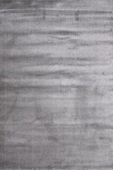 Licht-grijze Impression Rugs Enjoy Effen Velvet Vloerkleed Lichtgrijs Laagpolig - 80x150 CM