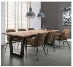 Bruine Livin24 Industriële eetkamertafel Madrid acaciahout 200 x 100 cm RVS frame