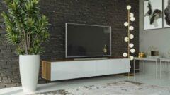 Maxima House VIGO I Zwevend TV Meubel - TV Meubel Hoogglans Wit / Country Eik - TV Kast Meubel - Modern Design - 30x180x40 cm