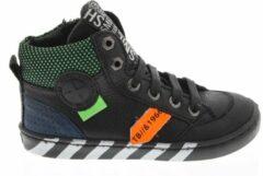 Groene Shoesme zwarte hoge sneaker met patch en stripings (UR20W044-C)....