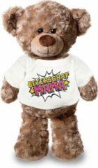 Bellatio Decorations Beterschap mama pluche teddybeer knuffel 24 cm met wit pop art t-shirt - beterschap mama / cadeau knuffelbeer