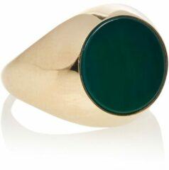 Aynur Abbott groen Signet zegelring van zilver verguld met goud en edelsteen