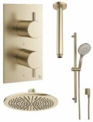 Crosswater MPRO inbouwdoucheset met 30cm regendouche plafondmontage glijstang met ingebouwde aansluiting geborsteld messing (goud) PRO1500RF+