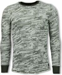 Tony Backer Army Look Shirt - Long Fit Sweater - Groen Sweaters / Crewnecks Heren Sweater Maat S