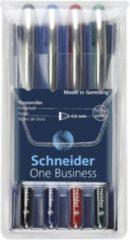 Schneider Rollerballpen One Business 0.6 mm Blauw, Groen, Rood, Zwart 183094