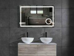 Mawialux LED spiegel   100cm   Rechthoek   Verwarming   Digitale klok   ML-100LS-V