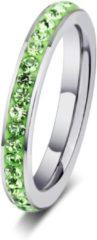 Amanto Ring Erien groen - Dames - 316 Staal PVD - Zirkonia - 4 mm - maat 55 - 17,5 mm