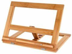 Naturelkleurige Verstelbare boekenstandaard van bamboe hout - Boekenhouder voor o.a. kookboek (als kookboekstandaard in keuken), tablet of boek - Kookboeken standaard - Boekensteun, verstelbaar & inklapbaar - Decopatent®
