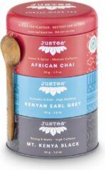 Trio Black Tea - JUSTEA - 106 gram/90 kop - African chai - Kenyan Earl grey - Mount Kenya Black - Theekado - Biologische losse thee - Fairtrade !