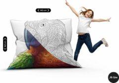 Witte Mr. Relax Zitzak Inkleur Loungekussen Dual Print Kinderen Kinderkamer 140 x 140 Papegaai Binnen- en Buitengebruik Vloeistofdicht