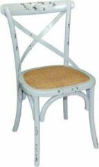 Blauwe Bolero houten stoelen met gekruiste rugleuning antiek blue wash (2 stuks)