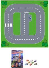 Shoppartners Speelgoed stratenplan wegplaten basis set karton met auto speelsetje - Kartonnen DIY wegen speelkleed