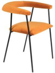 Dutchbone Haily Stoel - Licht Oranje Fluweel - Zwart Metalen Poten