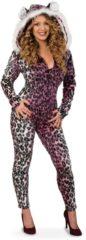 PartyXplosion Leeuw & Tijger & Luipaard & Panter Kostuum | Gewaagd Roze Luipaard | Vrouw | Maat 36 | Carnaval kostuum | Verkleedkleding
